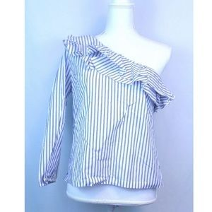 NWT J.Crew Striped One Shoulder Ruffle Neck Top
